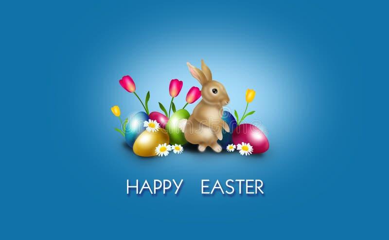 Fondo de Pascua adornado con los huevos y el conejito de Pascua stock de ilustración