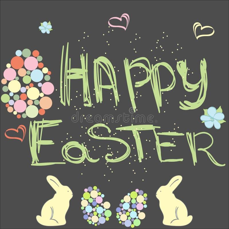 Fondo de Pascua con el texto feliz de Pascua ilustración del vector
