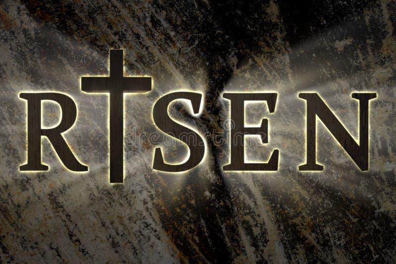 Fondo de Pascua con la cruz de madera de Jesus Christ y el texto subido tarjeta para religioso, Christian Easter libre illustration