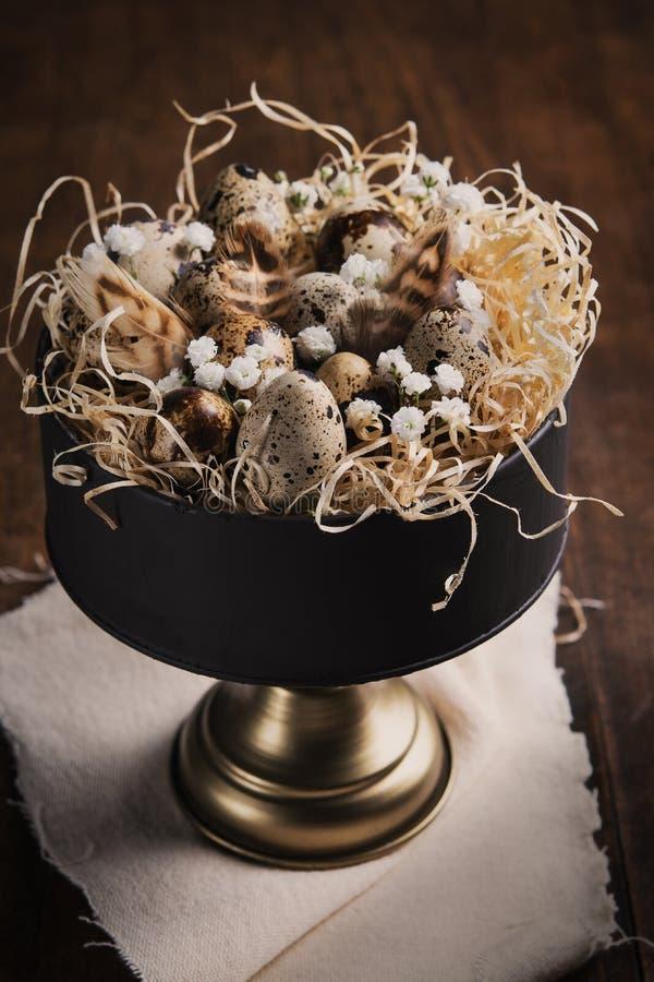 Fondo de Pascua con los huevos de codornices, plumas y ramitas y flores de la primavera en soporte de la torta del vintage en la  foto de archivo