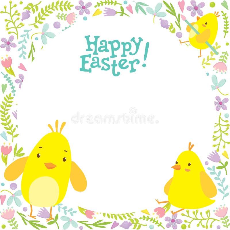 Fondo de Pascua con los polluelos y las decoraciones en el fondo fotos de archivo