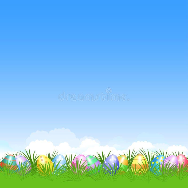 Fondo de Pascua y huevos de Pascua coloridos en la hierba verde para el Ea ilustración del vector