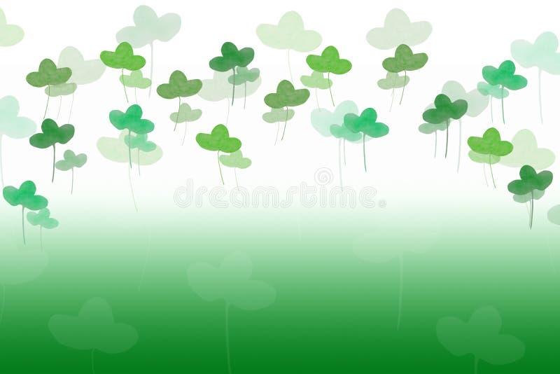 Fondo de Patricks El trébol deja la acuarela dibujada a mano en verde imagenes de archivo