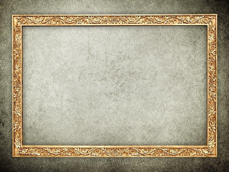 Fondo de piedra del marco del oro stock de ilustración
