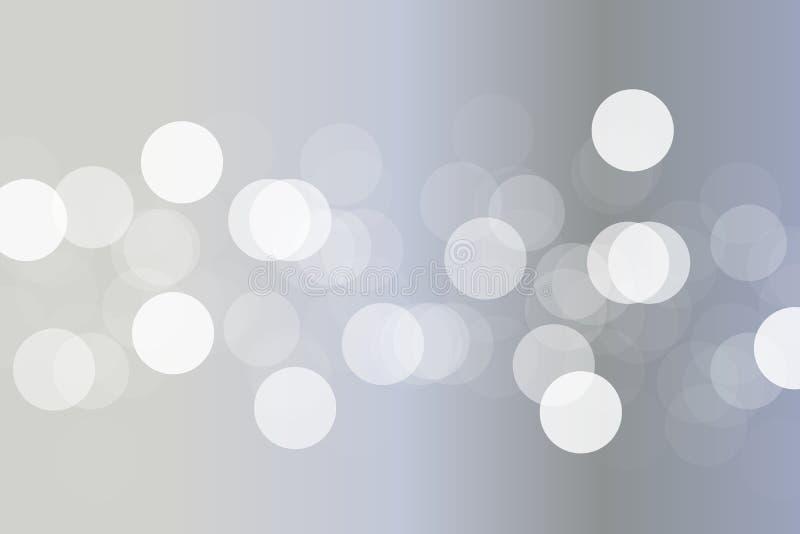 Fondo de plata abstracto del bokeh de la pendiente con la luz blanca en el centro stock de ilustración
