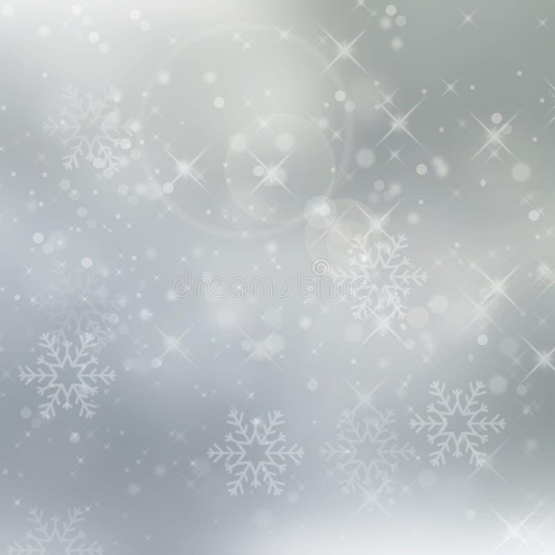 Fondo de plata abstracto del invierno con los copos de nieve foto de archivo libre de regalías