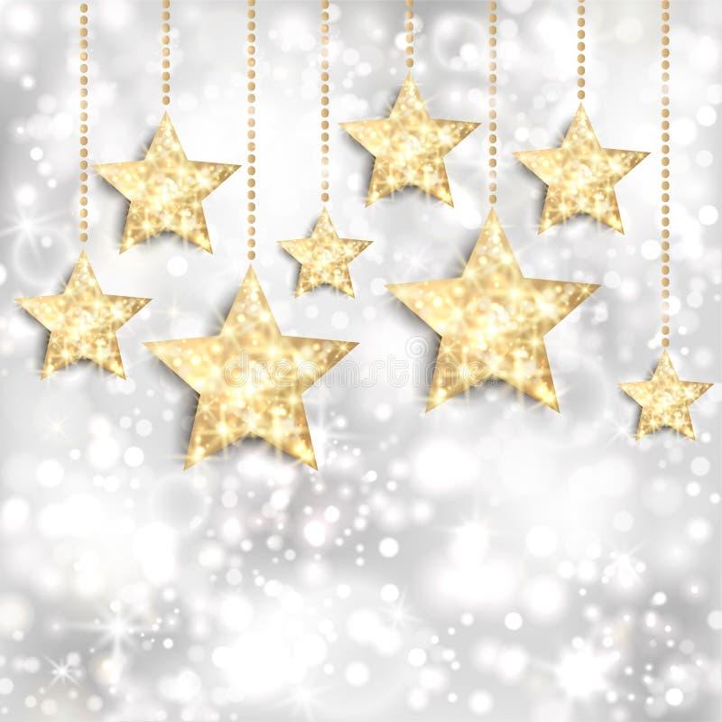 Fondo de plata con las estrellas del oro y las luces twinkly stock de ilustración