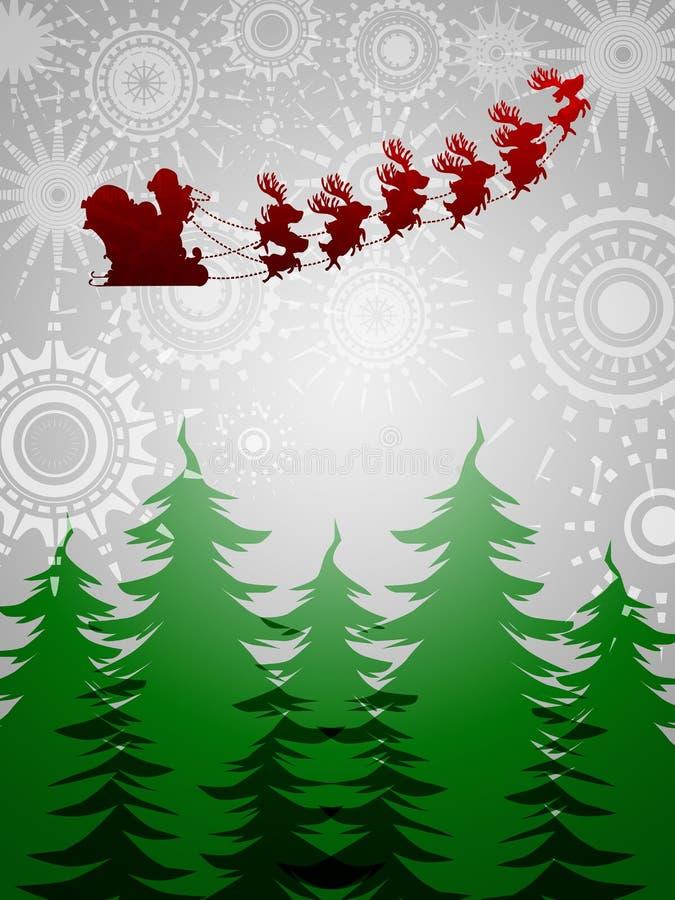 Fondo de plata de los árboles del reno del trineo de Santa stock de ilustración
