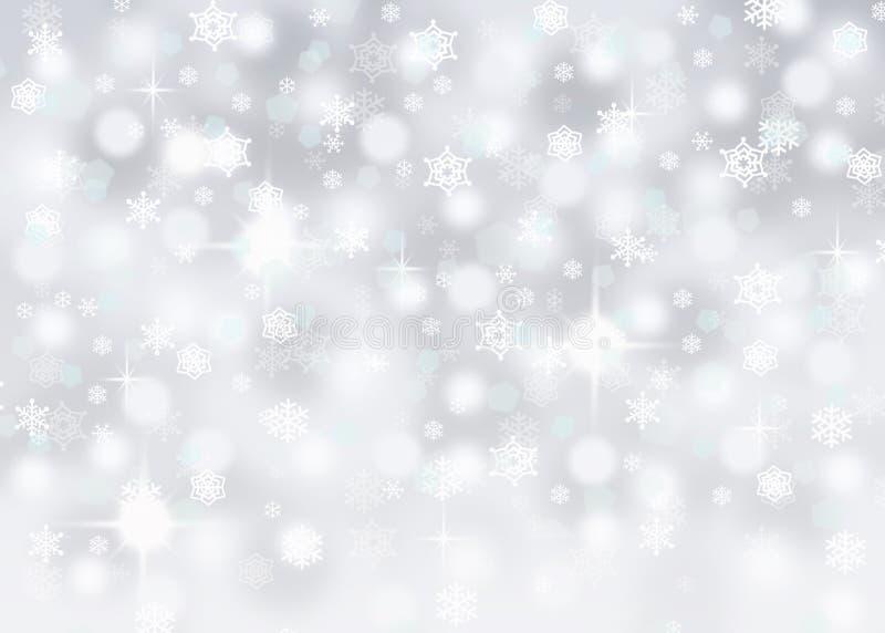 Fondo de plata del extracto del bokeh con los copos de nieve y las chispas que caen stock de ilustración
