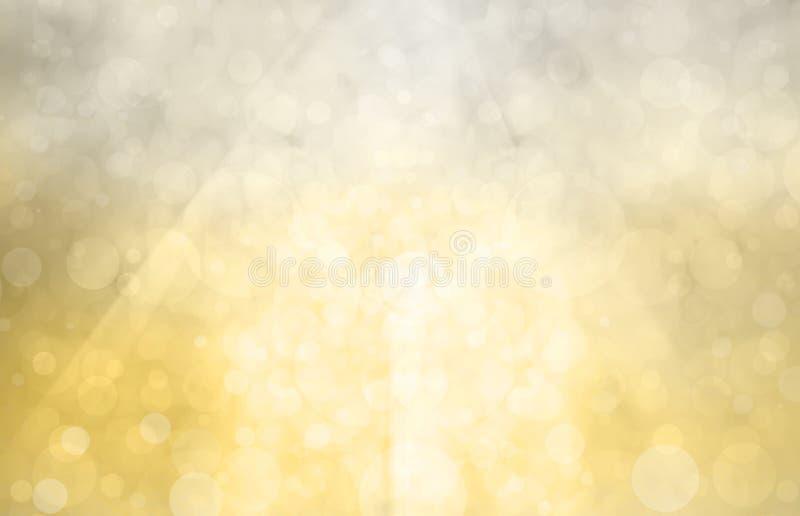 Fondo de plata del oro con sol brillante en círculos o burbujas del bokeh en luz blanca brillante stock de ilustración