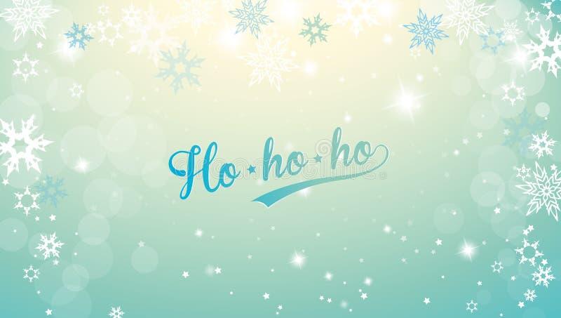 Fondo de plata de la Navidad con los copos de nieve y el texto azul decente de la Feliz Navidad ilustración del vector