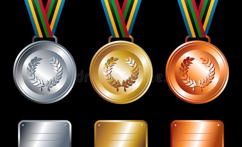 Fondo de plata y de bronce de las medallas del oro, stock de ilustración
