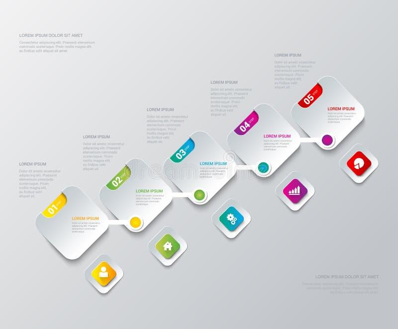 Fondo de proceso de la plantilla del infographics de las etiquetas de los pasos del vector libre illustration