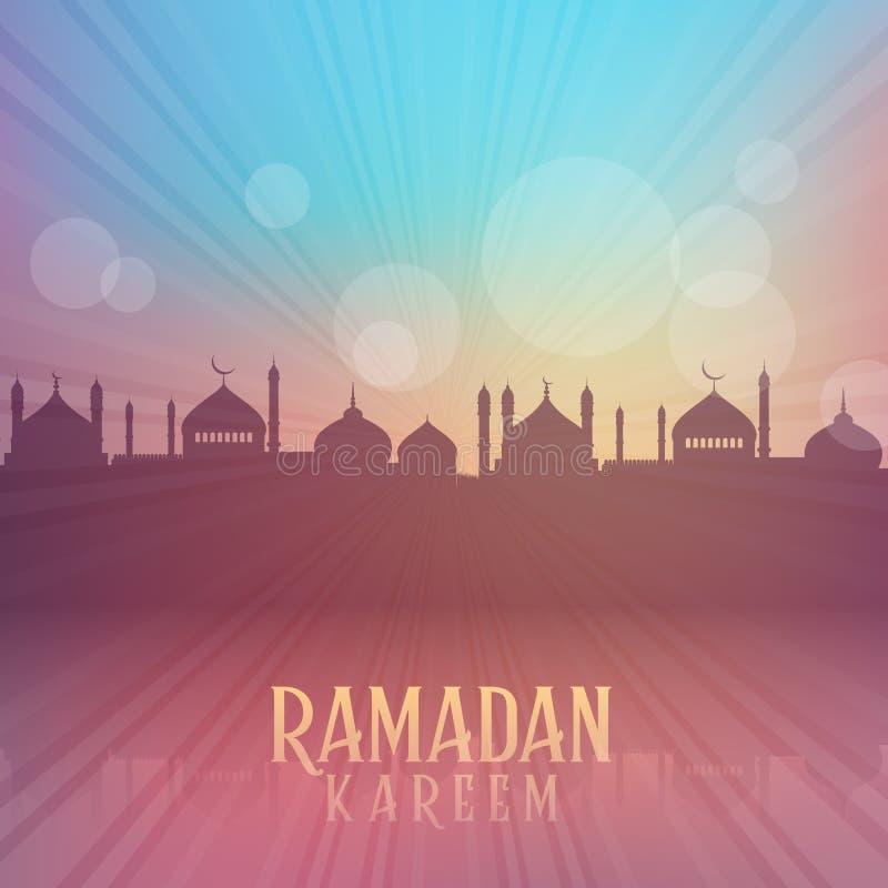 Fondo de Ramadan Kareem con las siluetas de la mezquita ilustración del vector