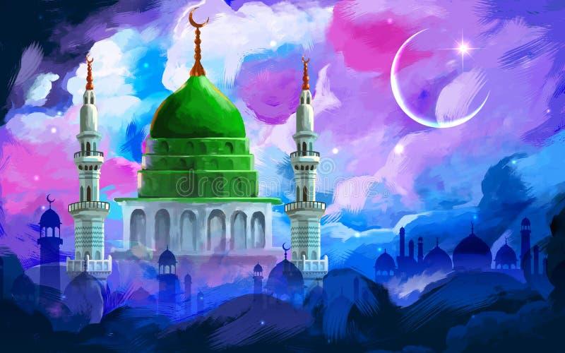 Fondo de Ramadan Kareem (el Ramadán abundante) ilustración del vector