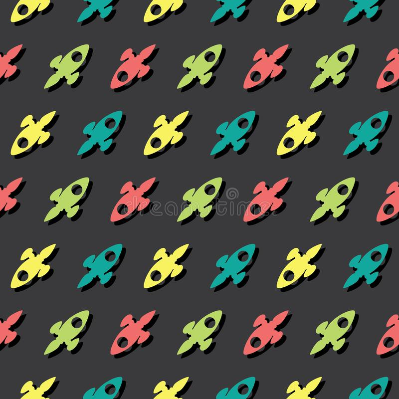 Fondo de Rocket Explorer Seamless Colored Pattern del espacio libre illustration