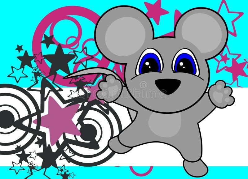 Fondo de salto de la pequeña del ratón historieta dulce del bebé ilustración del vector