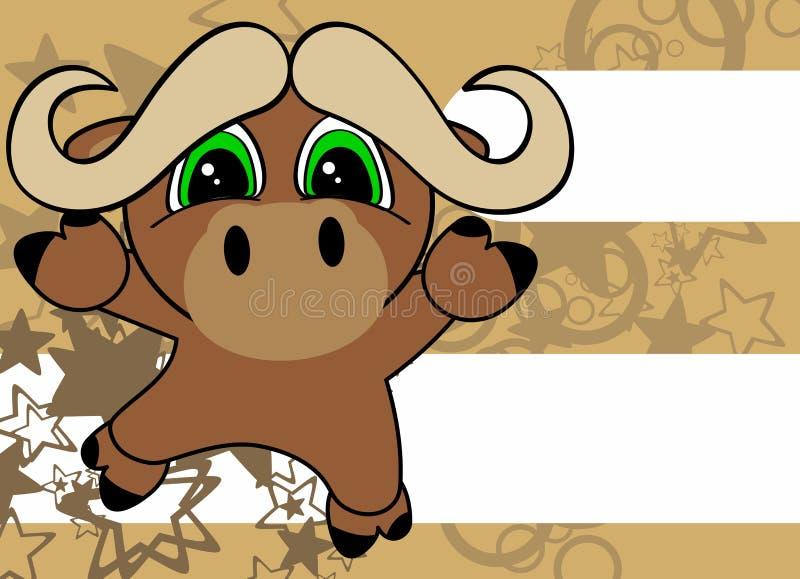 Fondo de salto de la pequeña de los bueyes historieta dulce del bebé stock de ilustración
