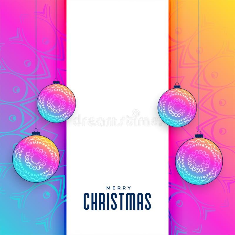 Fondo de saludo de la Navidad creativa vibrante ilustración del vector