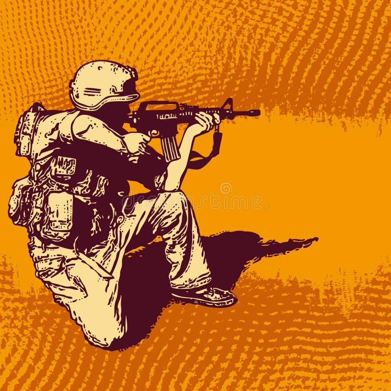 Fondo de semitono de Grunge con el soldado con un arma ilustración del vector
