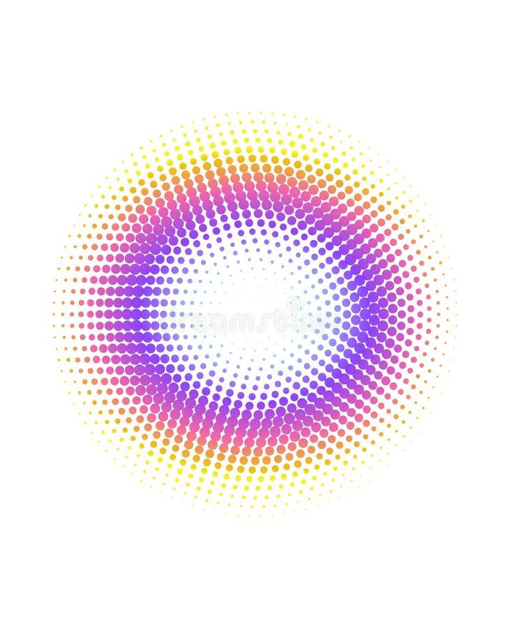 Fondo de semitono del modelo de puntos del c?rculo del arco iris colorido abstracto stock de ilustración