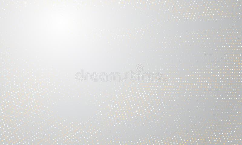 Fondo de semitono de plata del oro Círculo de oro del brillo del vector con brillo de semitono blanco punteado de la textura del  stock de ilustración