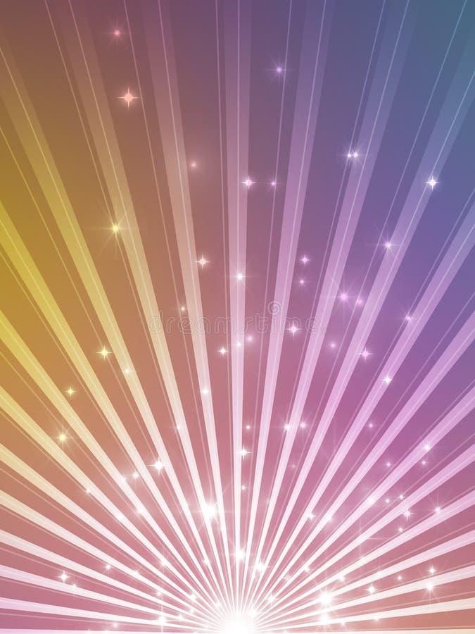 Fondo de Showtime - celebración en oro y púrpura - días de fiesta y proyector ilustración del vector