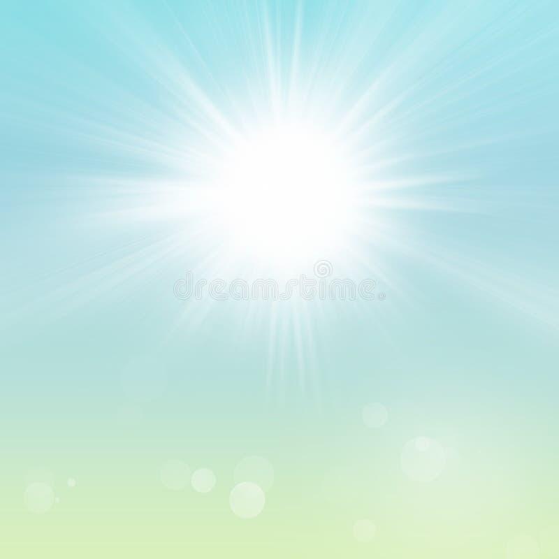 Fondo de Sunny Spring Summer Sun Sky del verde azul ilustración del vector