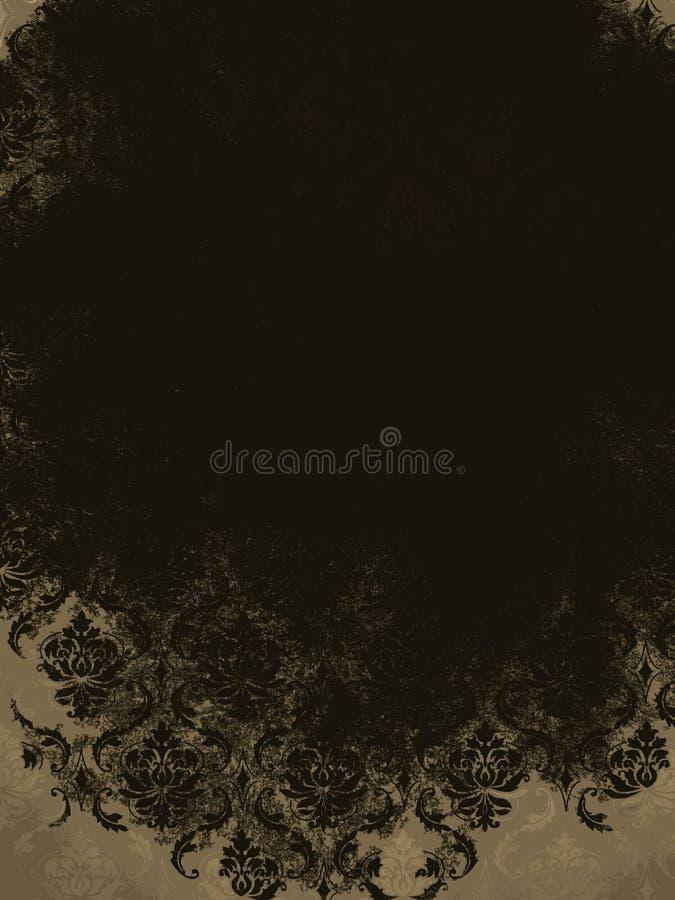 Fondo de Tan Black Vintage Damask de la crema de Brown ilustración del vector