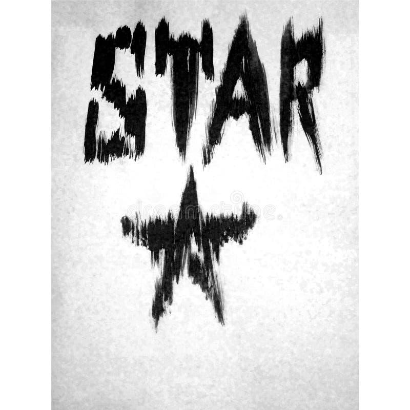 Fondo de textura blanco negro brillante abstracto de la acuarela hecho a mano Estrella ilustración del vector