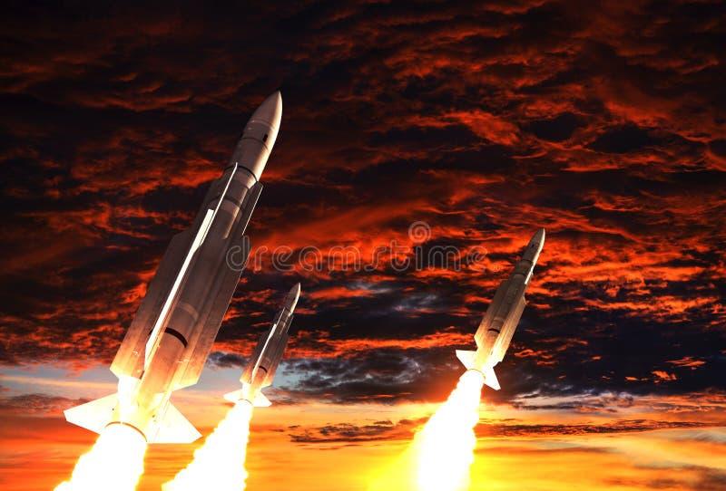 Fondo de tres Rockets Takes Off On The del cielo apocalíptico libre illustration