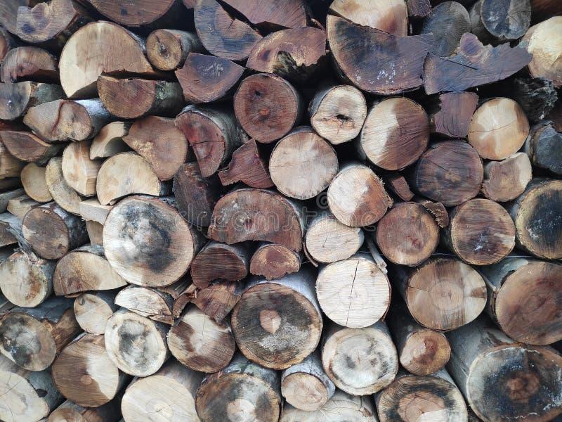 Fondo de troncos de árbol apilados - tonos marrones foto de archivo