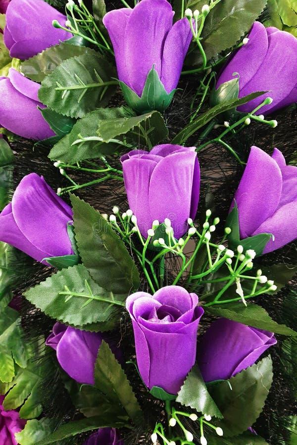 Fondo de tulipanes p?rpuras brillantes con las hojas verdes foto de archivo