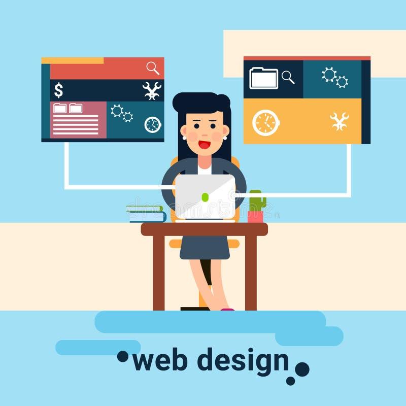 Fondo de Workplace Graphic Design del diseñador web de la mujer libre illustration