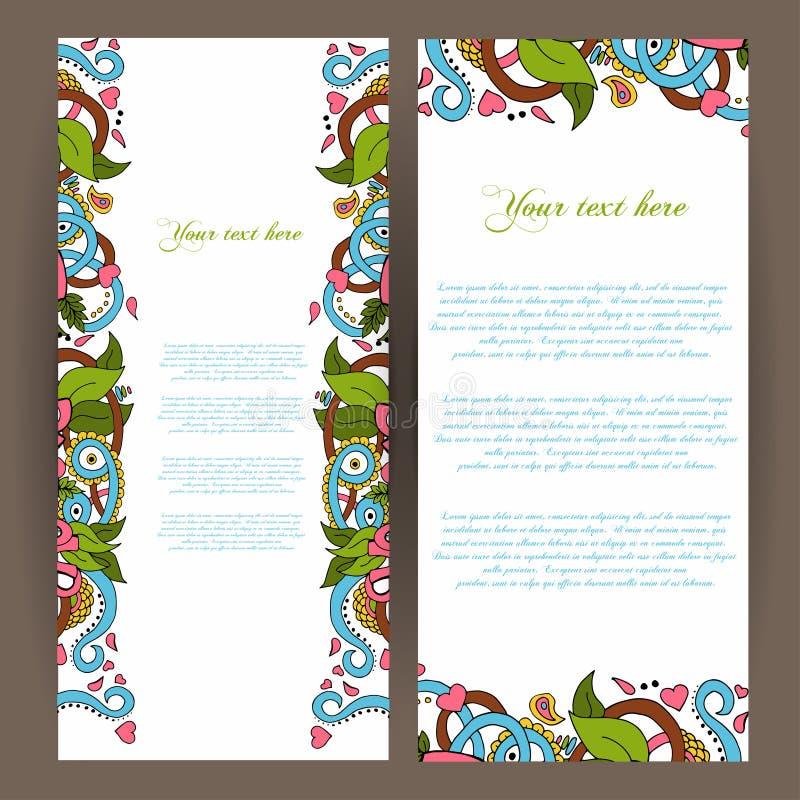 Fondo decorativo abstracto de la naturaleza Fondo de la bandera Set Diseño del marco del modelo para la tarjeta Elementos florale libre illustration