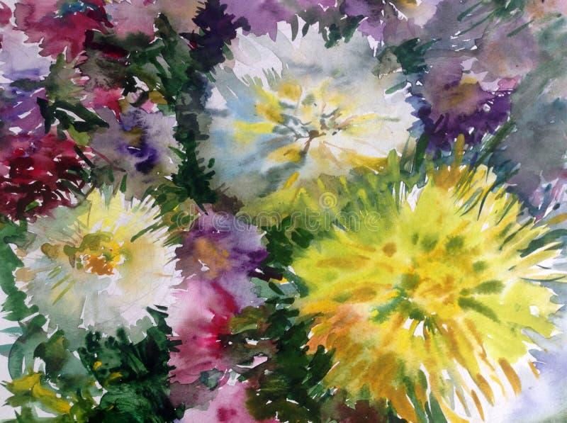 Fondo decorativo colorato luminoso astratto Modello floreale fatto a mano Bello mazzo romantico tenero dei fiori dell'aster illustrazione vettoriale