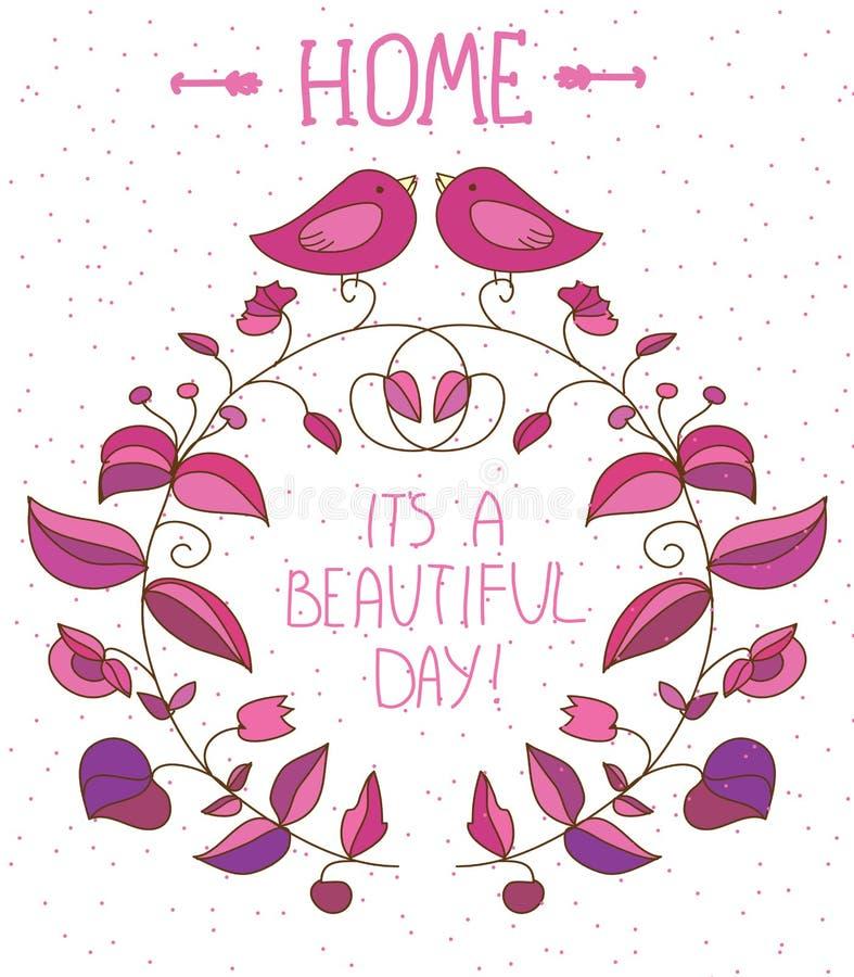 Fondo decorativo con i fiori e gli uccelli e l'iscrizione del giorno con lettere bello su fondo bianco, illustrazione di stock