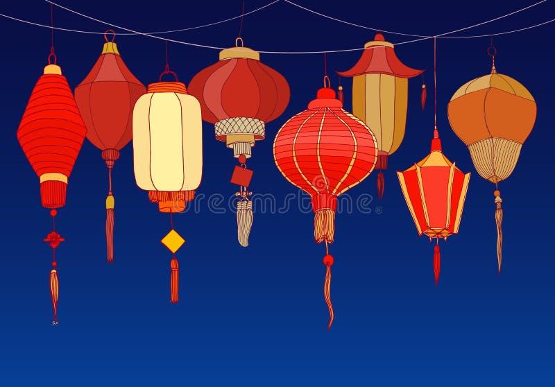 Fondo decorativo con las linternas de papel rojas chinas de la calle de diversos formas y tamaños Contexto con hermoso stock de ilustración