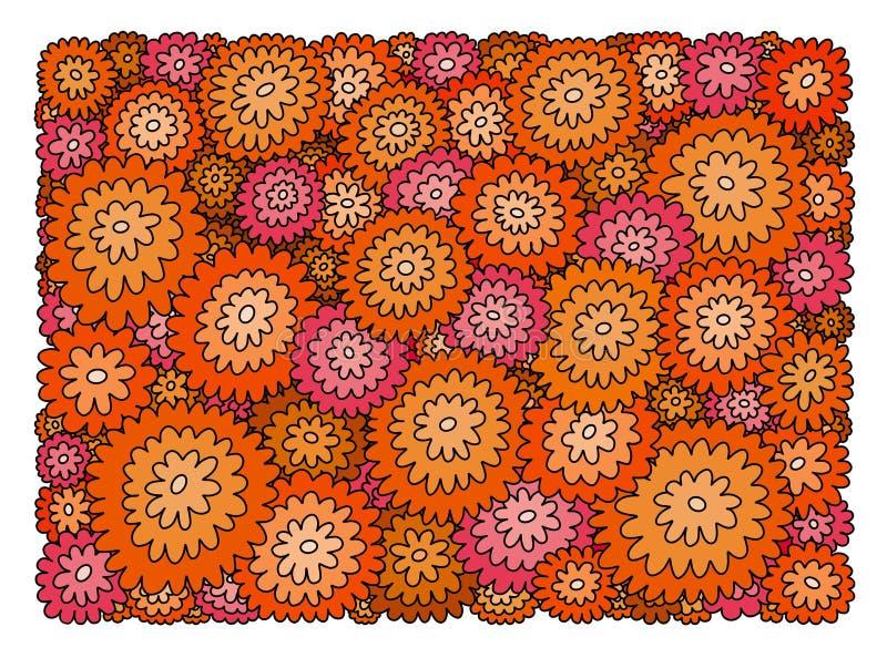 Fondo decorativo de la naranja, del rosa y de flores rojas ilustración del vector