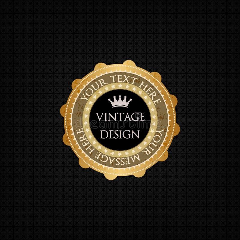 Fondo decorativo del vector e insignia de oro stock de ilustración
