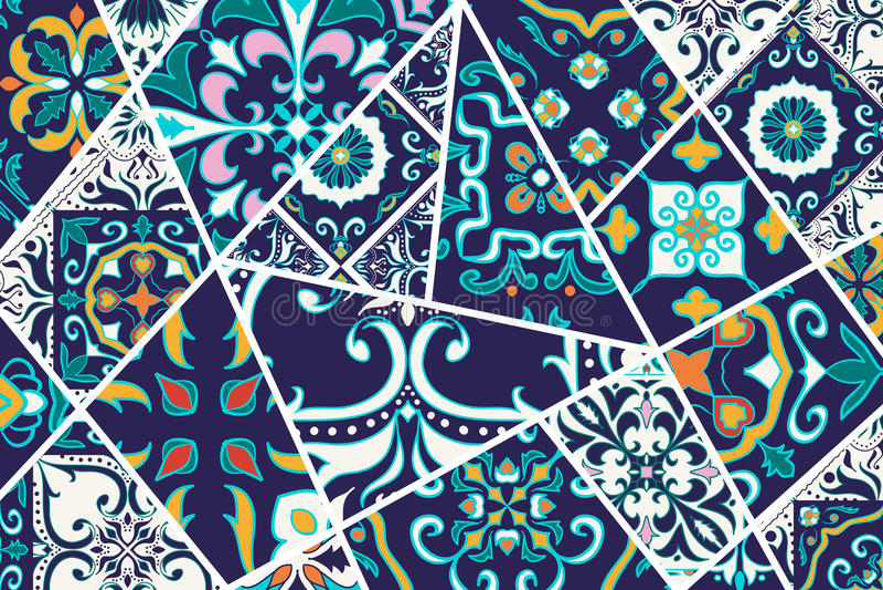 Fondo decorativo del vector Modelo del remiendo del mosaico para el diseño y la moda libre illustration
