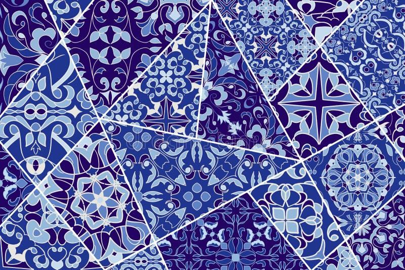 Fondo decorativo del vector Modelo del remiendo del mosaico para el diseño y la moda stock de ilustración