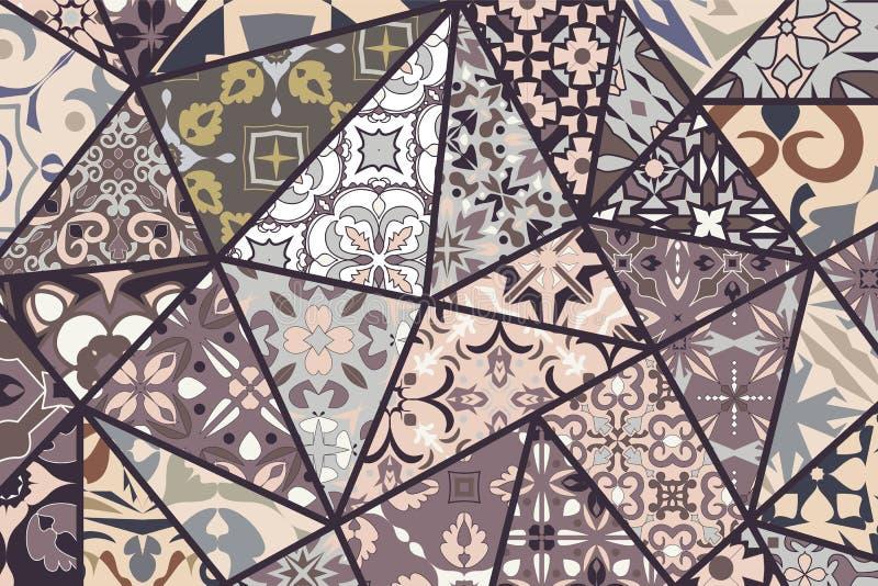 Fondo decorativo del vector Modelo del remiendo del mosaico para el diseño y la moda ilustración del vector