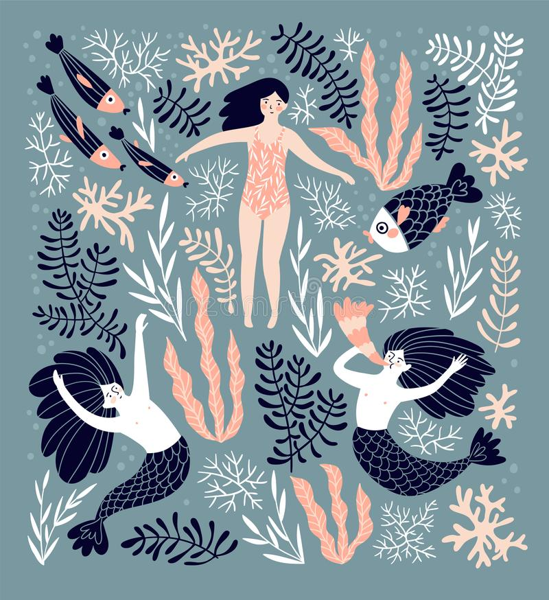 Fondo decorativo lindo con las sirenas y la muchacha de la natación en el mar Ilustración drenada mano del vector libre illustration