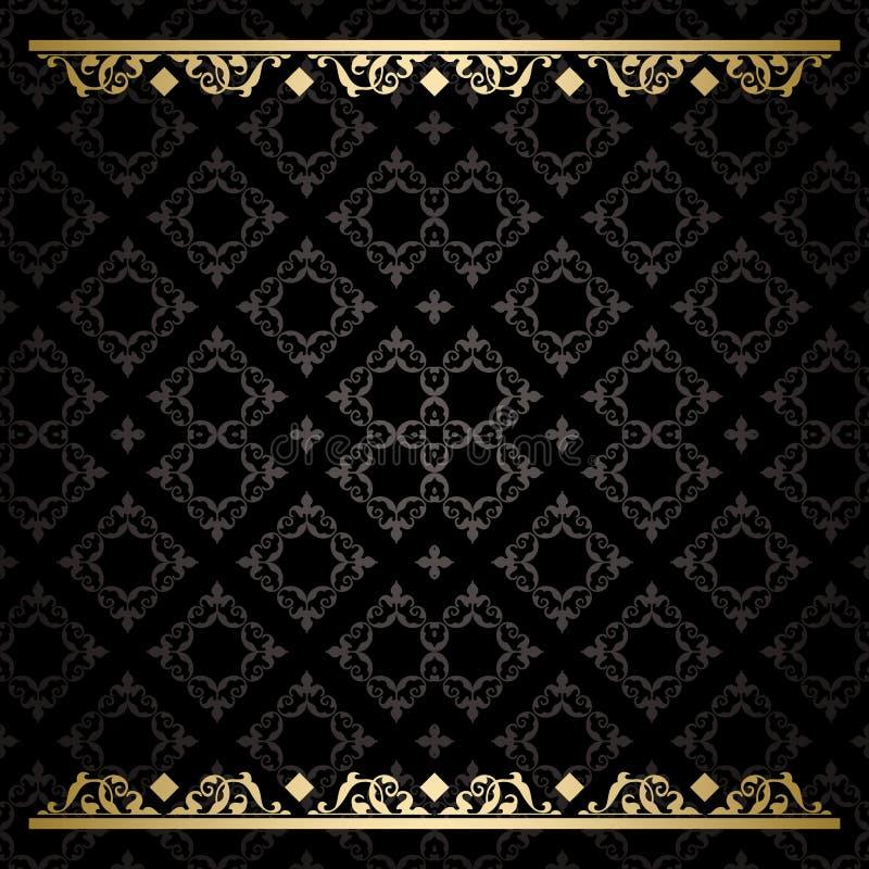 Fondo decorativo nero con i trafori dell'oro - modello illustrazione di stock