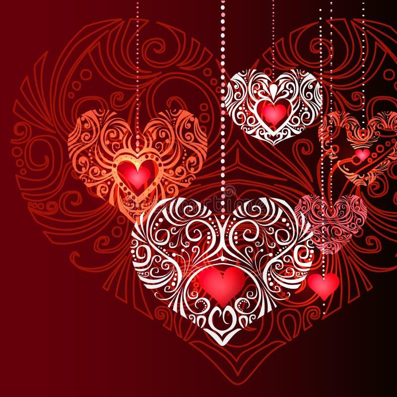 Fondo decorativo rosso dei cuori dei gioielli illustrazione vettoriale