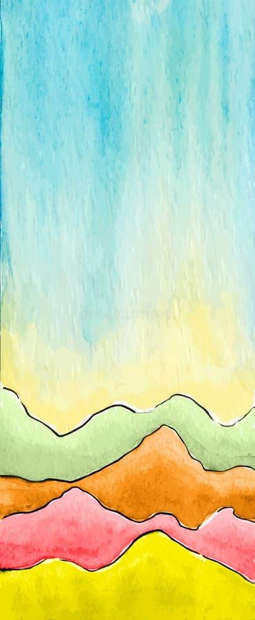 Fondo defocused del extracto de la acuarela del vector con las montañas libre illustration