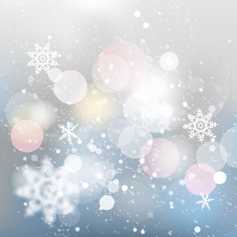 Fondo defocused del invierno Textura descendente de la nieve ilustración del vector