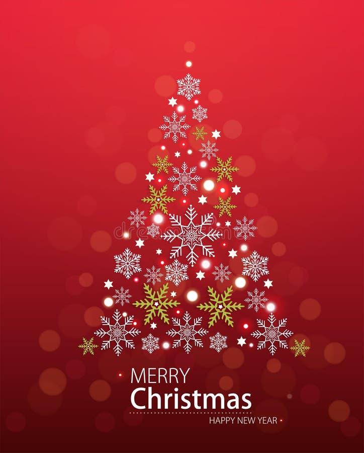 Fondo defocused rosso con l'albero di Natale sotto forma di stelle illustrazione di stock