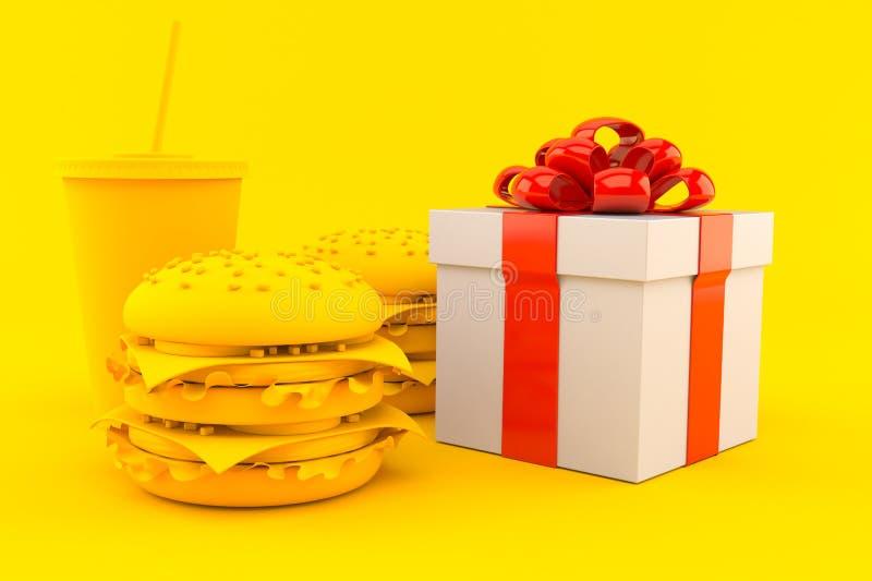 Fondo degli alimenti a rapida preparazione con il regalo illustrazione vettoriale